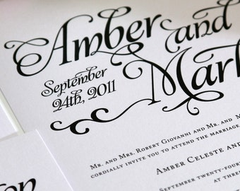 Alluring Script Wedding Invitations Sample in Black and White on Pearl Shimmer Luxury Cardstock
