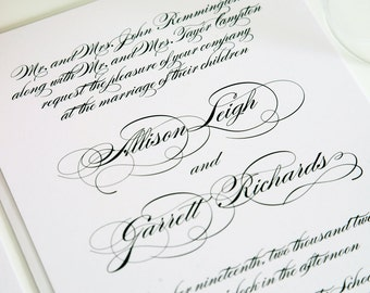 All Script Elegant Wedding Invitation - Black and White, Classy, Upscale Invitation Set - Wedding Invite Sample Suite