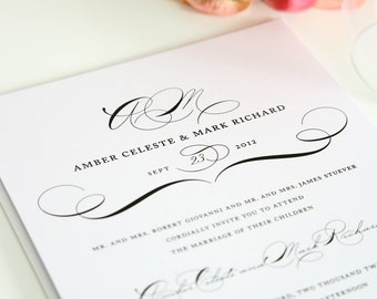 Vintage Class Wedding Invitation - Elegant, Sophisticated, or Modern Vintage Wedding - Invitation Deposit