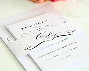 Vintage Class Wedding Invitation Suite - Sophisticated Modern Elegance - Monogram, Initials, Modern Vintage Wedding Invitation Sample Set