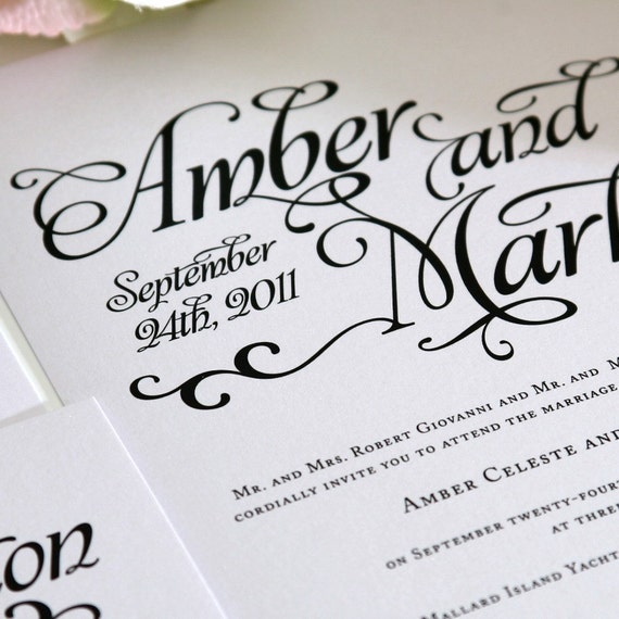 Shabby Chic Wedding Invitation - Black and White -  Large Names, Unique Whimsical Script, Swirls - Deposit to Get Started