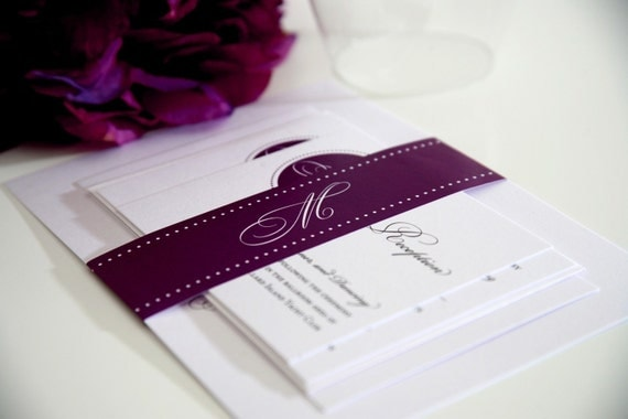 Purple Wedding Invitations - Circle Monogram Sample