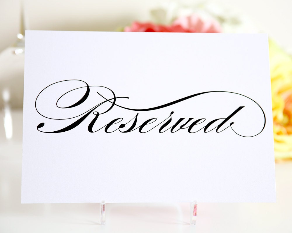 reserved table sign for your wedding by shineinvitations. Black Bedroom Furniture Sets. Home Design Ideas