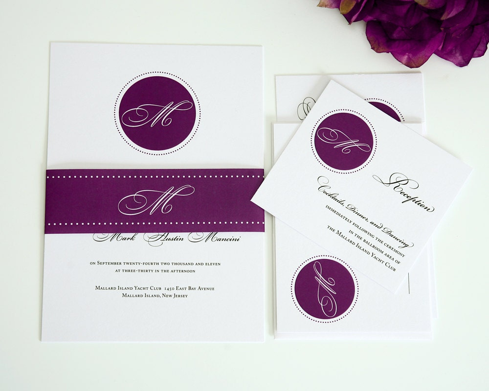 Elegant Monogram Wedding Invitations: Wedding Invitation Wedding Monogram Initials By