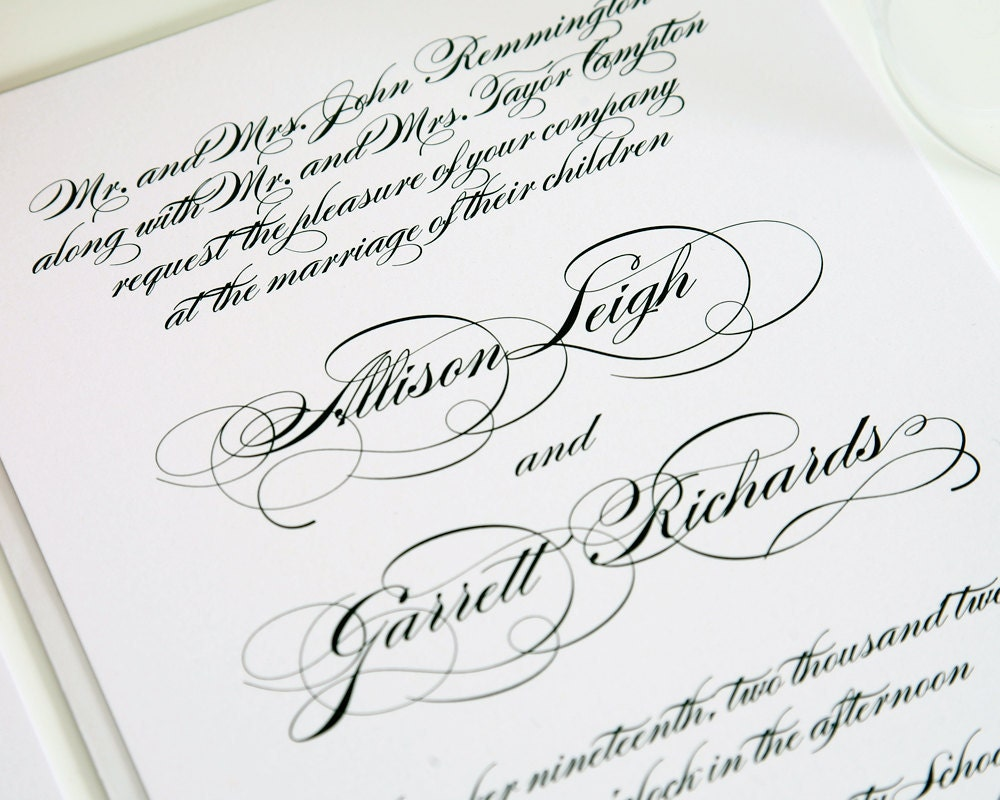 All Script Elegant Wedding Invitation Black By