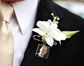Boutonniere Charm Lapel Pin Memorial Charm Custom Photo Keepsake Groom
