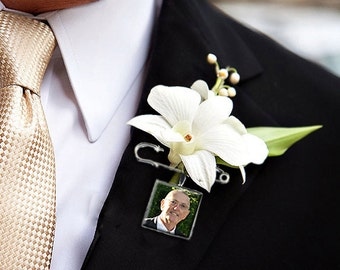 A Boutonniere Charm Lapel Pin Custom Photo Memory Wedding Charm for the Groom