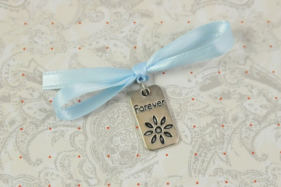 Wedding Bouquet Charm, Forever tag, Something Blue Bouquet Charm