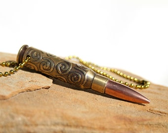 Recycled .308 Bullet Casing, Hand Etched, Swirl Pattern, Copper Projectile by sundaycreekgems on Etsy