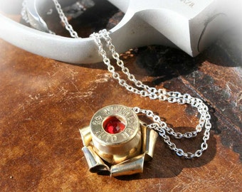 Golden Bullet Necklace, Recycled Brass Casing, Swarovski Crystal Center, Sweet, Feminine