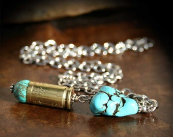 Bullet Necklace,  Turquoise Magnesite, Etched Arrow Pattern, Luger 9mm