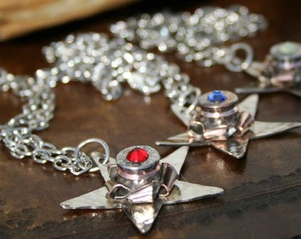Bullet Pendant Necklace with Texas Lone Star, Luger 9mm Nickel Casing Rosette, Swarovski Crystal Center