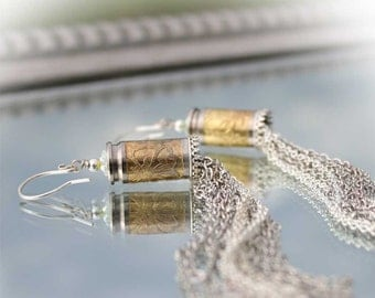 Luger 9mm Bullet Casing Earrings, Nickel Plated Brass, Sterling Silver Lace Accent, Long Sexy Chains, Sterling Silver Earwires