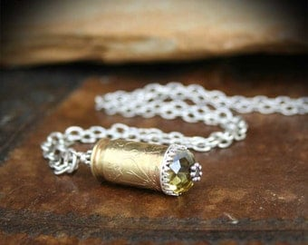 Necklace, 45 ACP Bullet Casing, Pendant, Crystal, Etched Flower Pattern, Sterling Silver Lace Accent