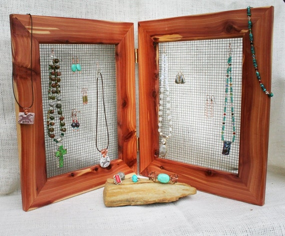 Solid Cedar Double Frame Jewelry Organizer for Home or Craft Shows