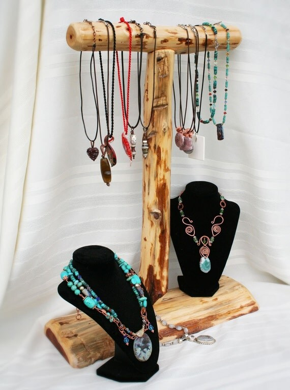 Natural cedar necklace display for craft or jewelry by for Jewelry displays for craft fairs
