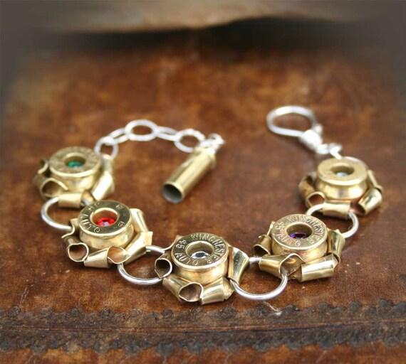 Bullet Bracelet, Brass 45 ACP Casing Rosettes with Swarovski Crystals, Sterling Silver Links