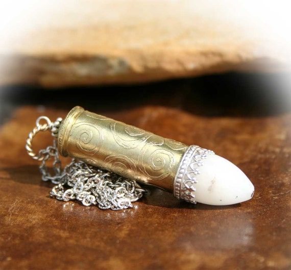 Necklace, Colt 45 Bullet Casing, Pendant, Etched Swirls, White Agate, Sterling Silver Ace Accent