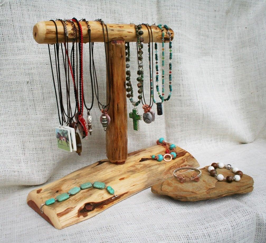 Natural cedar wood necklace display for craft or jewelry shows for Jewelry displays for craft fairs