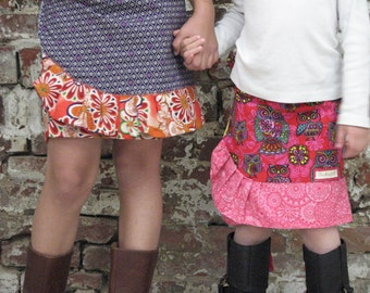 pdf MERRY-GO-ROUND Wrap Skirt pattern and tutorial...sizes 2T-6T, reversible wrap skirt