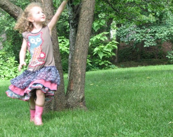 pdf BIRDSONG Ruffle Tank Dress pattern and tutorial....size 2t-6t, recycled tshirts