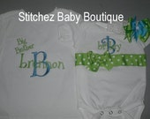 Big Brother Shirt and Little Sister Ribbon Onesie SET with M2M hairbow for Little Sister