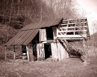 SALE - RAMSHACKLE BARN Matted Photograph - 8 by 10 inches, Abandoned Building Photo, Derelict, Rural Ruin Photography