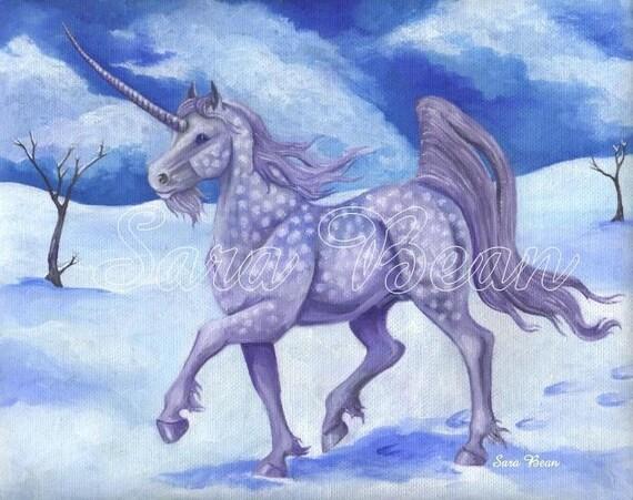 Winter Unicorn Oil Painting