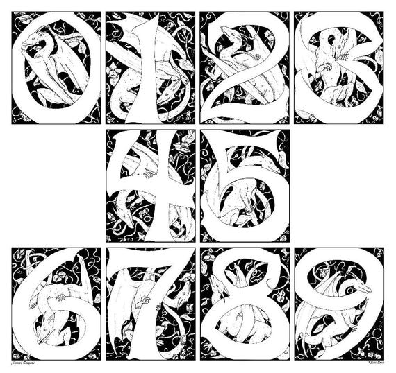 Items similar to Illuminated Numbers with DRAGONS - DRAGON NUMBER 8 by 10  Art Print, Black and White Numerical Fantasy Prints on Etsy