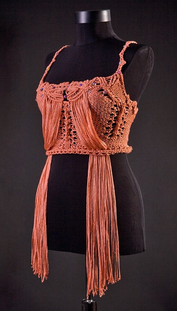Amazing TRENDY PEACH Macrame knitted top discounted