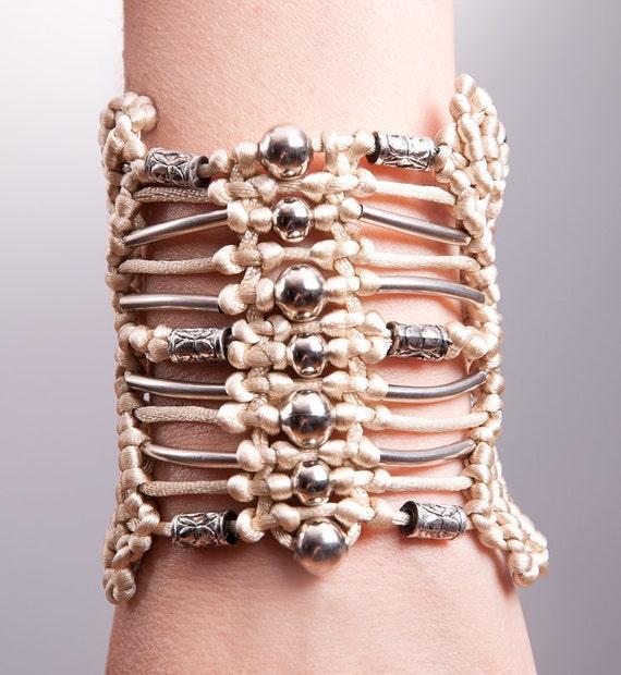 NUDE Sand BEADED Macrame Bracelet Hand-knitted