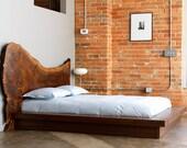 Claro Walnut Headboard & Bed Frame