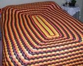 Vintage Afghan Throw Bedspread Crocheted Orange Yellow Brown 70s Kitschy Mod Colors