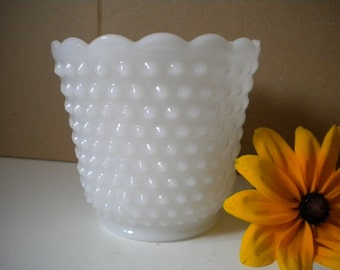 Vintage Fire King Anchor Hocking Hobnail Milk Glass Vase or Planter Small