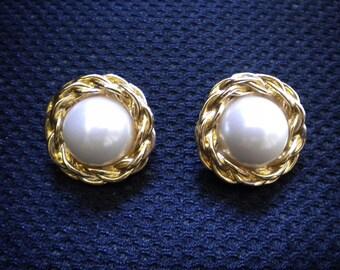 Vintage Anne Klein Faux Pearl Pierced Earrings