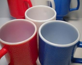 VIntage 60's Set of 6 Milk Glass Pedestal Mugs Red White Blue Mid Century Modern Retro