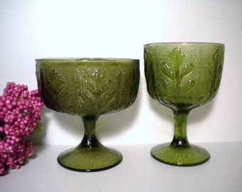 Vintage 70s FTD Avocado Glass Pedestal Vase Planter Compote Goblet Fern Leaf/Oak Leaf Pattern Set of 2