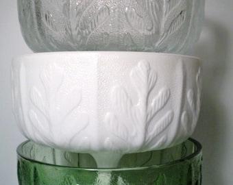 Vintage Set of 3 1975 FTD Glass Pedestal Vase Planter Compote Fern Leaf/Oak Leaf Clear/Green/White