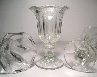 Vintage 50's Sundae Glasses Dessert Dishes Ice Cream Shoppe Set of 4