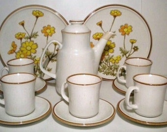 Vintage 70s Mikasa Natural Beauty Coffee Pot  5 Cups 5 Saucers 2 Dinner Plates Hot Beverage Serving Set 13 Piece Set