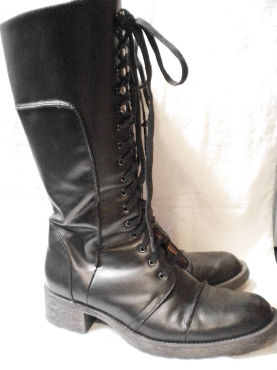 Vintage Black Leather Nine West Zip or Lace Up Knee High Combat Boots Womens Size 8 M