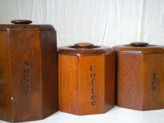 vintage 70s country wood kitchen canister by