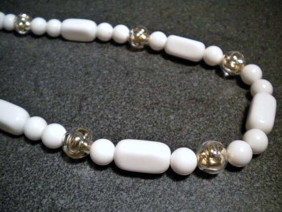 Vintage Trifari White Lucite and Golden Orbs Beaded Necklace