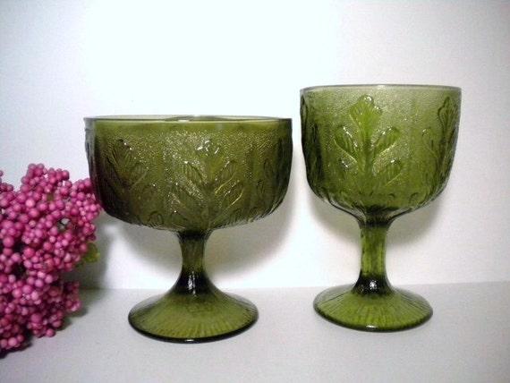 Vintage 70s FTD Avocado Glass Pedestal Vase Planter Compote Goblet Fern Leaf/Oak Leaf Pattern Set of 2