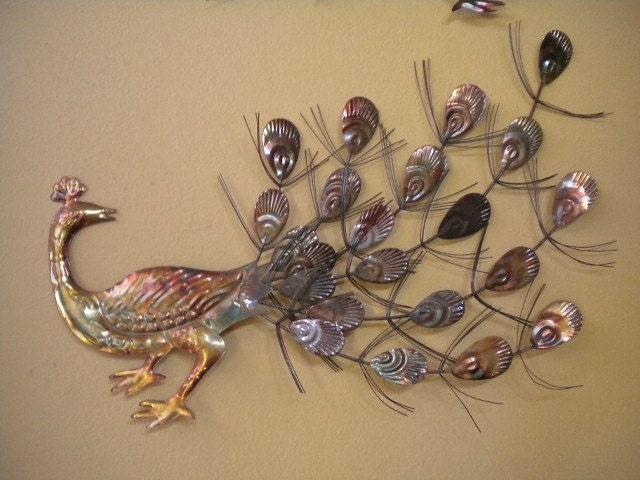 Vintage 70's Pair Of Oxidized Metal Peacock Wall Art