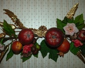 Fruit and Roses with Brass Leaves Swag Wall Hanging