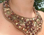 Brown and Gold Sequins and Wood Bead Bib Necklace with Ribbon Ties