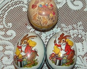 3 metal tin Easter Eggs with Lithograph