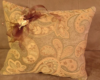 Paisley pillow with vintage brooch