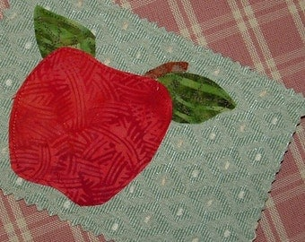 appliqued Red Delicious Apple postcard